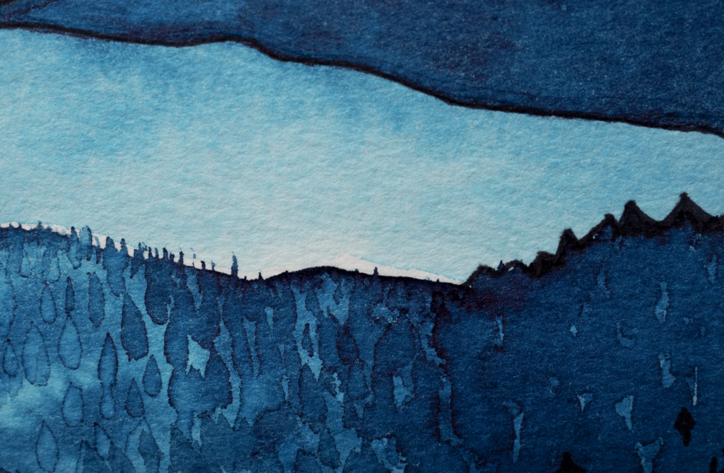 Illustration of a tree-lined coast, in shades of blue.