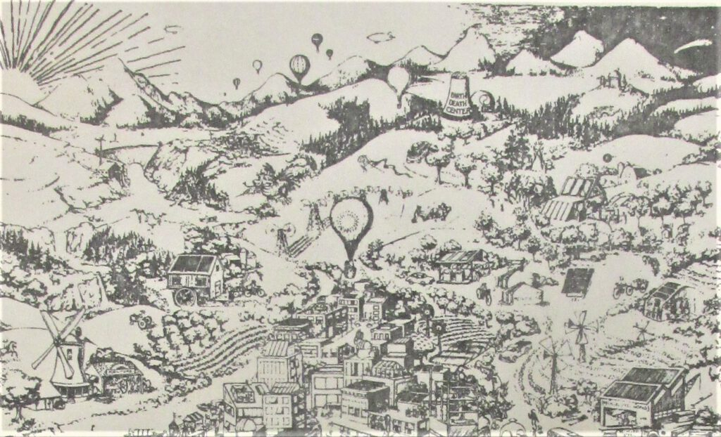 Black and white illustration of a town surrounded by rolling hills, with hills and a power station in the distance. Hot air balloons in the sky